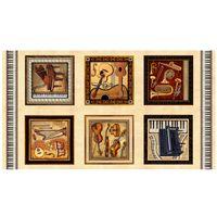 Patchwork Musikinstrumente Dan Morris Bilder Panel 60cm x 110cm