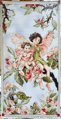 Patchworkstoff Fee, Elfe, Flower Fairy Panel Apple Blossom, Apfelblüte; 60x112cm