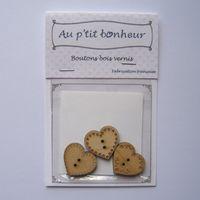 Knopf, Holzknopf Set - 3 kleine Herzen patch 20mm