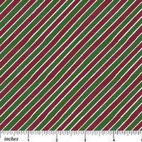 Patchwork Quilt Streifen Stoff diagonal grün/rot/beige 45x110cm