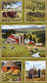 Patchworkstoff, Life on the Farm by John Sloane Panel 60x110cm Farm  Tiere Landleben