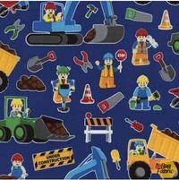 Patchworkstoff Stoff Quilt Kinderstoff Bagger Kran Baustelle Workers Royal