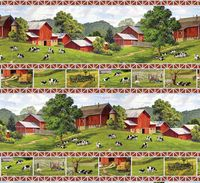 Patchworkstoff, Life on the Farm by John Sloane, repeating stripe