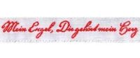Schmuckwebband Mein Engel weiß-rot 1 cm breit