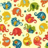 Patchworkstoff Quilt Stoff Elefanten bunt auf creme