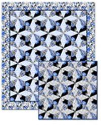 Kostenlose Nähanleitung für Quilt Fantasia blau schwarz weiss von Studio 8