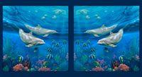 Patchworkstoff Stoff Quilt Delphinen Panel groß 2 Bilder 60x110cm