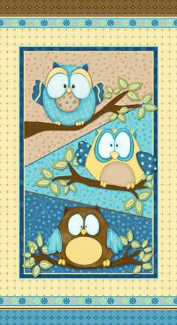 Patchworkstoff Quilt Stoff Whoo me Kinderstoff Eulen Panel Wald 60x110cm