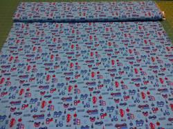Jerseystoff mit kleinen Autos blau 1,50m breit