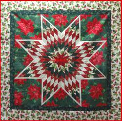 Wandquilt `Christmas Star! ca. 109x109cm, Materialpackung, Stoffpaket mit Nähanleitung!