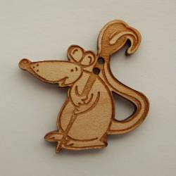 Knopf, Holzknopf Maus mit Nähnadel