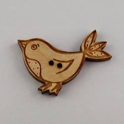 Knopf, Holzknopf Vogel gross mit 3 Schwanzfedern