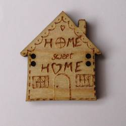 Knopf, Holzknopf Haus `Home sweet Home` gross 30mm