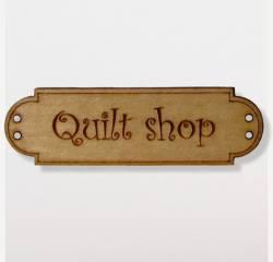 Knopf, Holzknopf Schild QUILT SHOP schmal 40mm breit