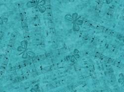 Patchworkstoff Stoff Quilt Noten und Schmetterlinge auf türkis-blau