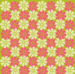 Patchworkstoff Stoff Quilt weiß und rosa Blumen auf grün