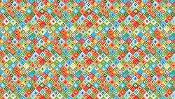 Patchworkstoff  jolly farm orange blue