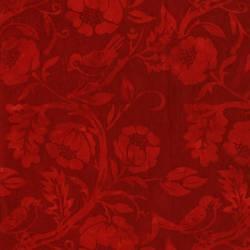 Patchworkstoff Batik rot mit Blumen