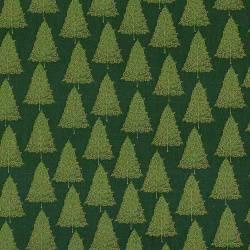 Patchworkstoff Stoff Quilt Christmas Classic Tree goldene Bäume auf tannengrün