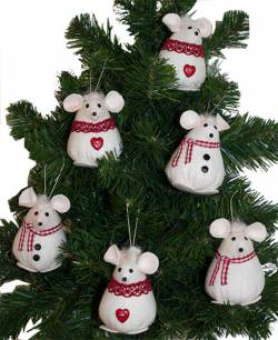 Materialpackung `Christmice ornaments 6cm` 6 Stück Weihnachtsmäuse