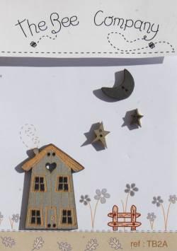Knopf, Holzknopf TB2A Haus, Mond und Sterne