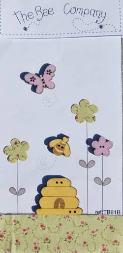 Knopf, Holzknopf TB61B - Biene, Schmetterling, Blumen, Bienenhaus