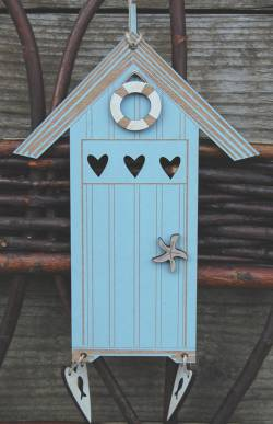 Knopf, Holzknopf TBE4-B Beach Cabin Blue, Strandhaus 14,5x11cm