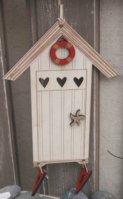 Knopf, Holzknopf TBE4-E Beach Cabin Creme, Strandhaus 14,5x11cm