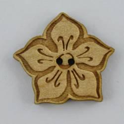 Knopf, Holzknopf Blume Dekor gross