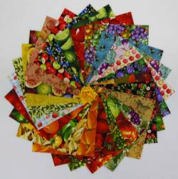 Patchworkstoff 25 Quadrate 5 Inch/12,7cm Obst Früchte