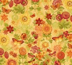 Patchworkstoff *Joyful Blooms* Schmetterling/Blumen