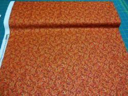 Patchworkstoff Quilt Stoff Harvest Madley Blätter orange
