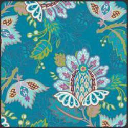 Patchworkstoff Stoff Quilt Bazaar Style deep exotic Blumen auf türkis
