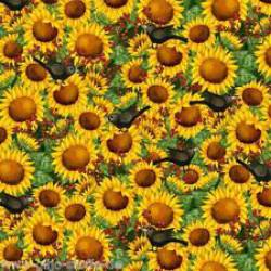Patchworkstoff Quilt Stoff Time For Harvest Sonnenblumen mit Raben