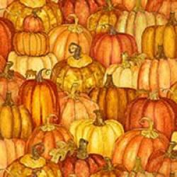 Patchworkstoff Quilt Stoff Harvest Market Kürbisse orange