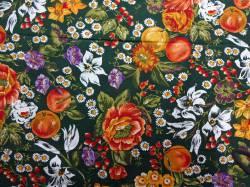 Patchworkstoff Quilt Stoff Watercolor Inspirations Blumen auf dunkelgrün