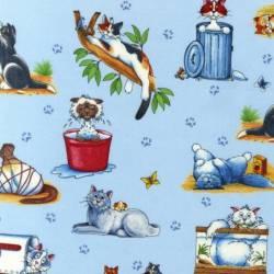 Patchworkstoff Quilt Stoff Crazy Cats Katzen auf hellblau
