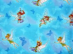 Patchworkstoff Quilt Stoff Fairies on Butterflies Tinkerbell auf blau