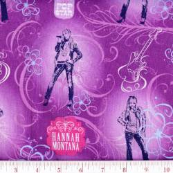 Patchworkstoff Quilt Stoff Hannah Montana lila Pop Star Disney