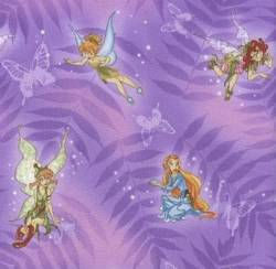 Patchworkstoff Quilt Stoff Fairies on Butterflies Tinkerbell auf Lila