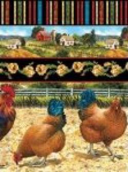 Patchworkstoff Quilt Stoff Bershire Farm-Dillon Hühner