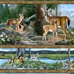 Patchworkstoff Quilt Stoff Wald Reh Hase Bär Wolf Border Streifenstoff REST