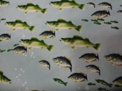 Patchworkstoff Quilt Stoff Rod & Reel Fische Fish