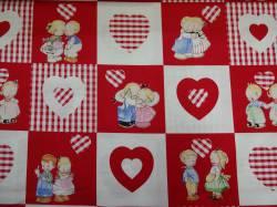 Patchworkstoff Quilt Stoff Mabel Loucie Attwell Kinder mit Herzen