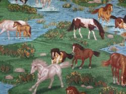 Patchworkstoff Quilt Stoff Pferde in Flüssen und Weiden