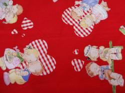 Patchworkstoff Quilt Stoff Mabel Loucie Attwell Kinder mit Herzen auf rot