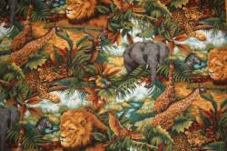 Patchworkstoff Quilt Stoff Jungle Party Africanische Tiere