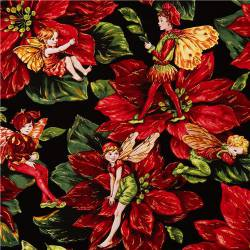 Patchworkstoff Quilt Stoff Holiday Fairies Feen mit Glitzer