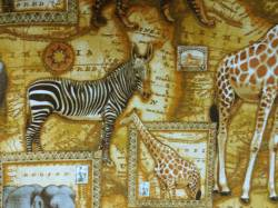 Patchworkstoff Quilt Stoff Native Arts Afrika Tiere Tiger Elephant Giraffe Zebra