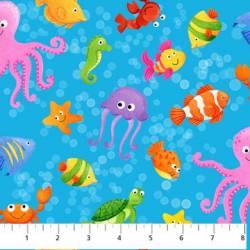Patchworkstoff Quilt Stoff `Little Mermaids` kleine Meeresbewohner